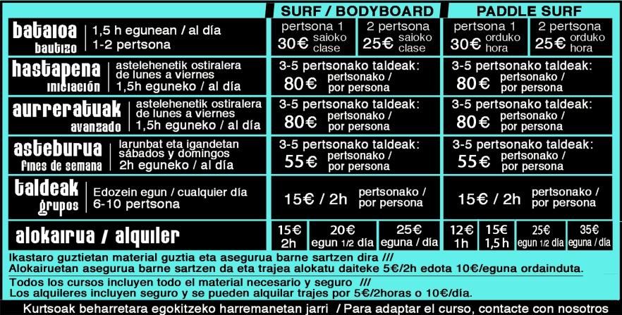 TARIFAK FLYSCHSURF Zumaiako Surf Eskola